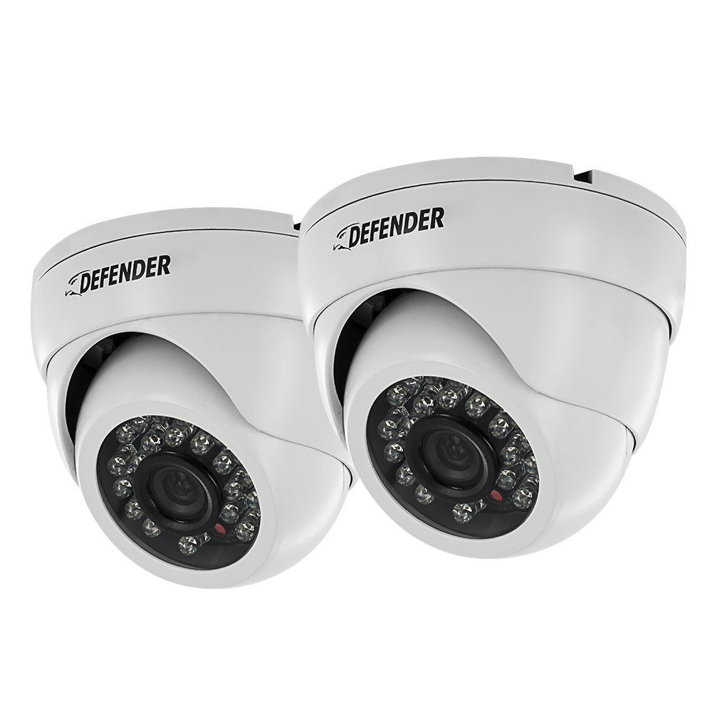 Two Ultra High Resolution Indoor/Outdoor Dome Security Cameras - 2 Pack
