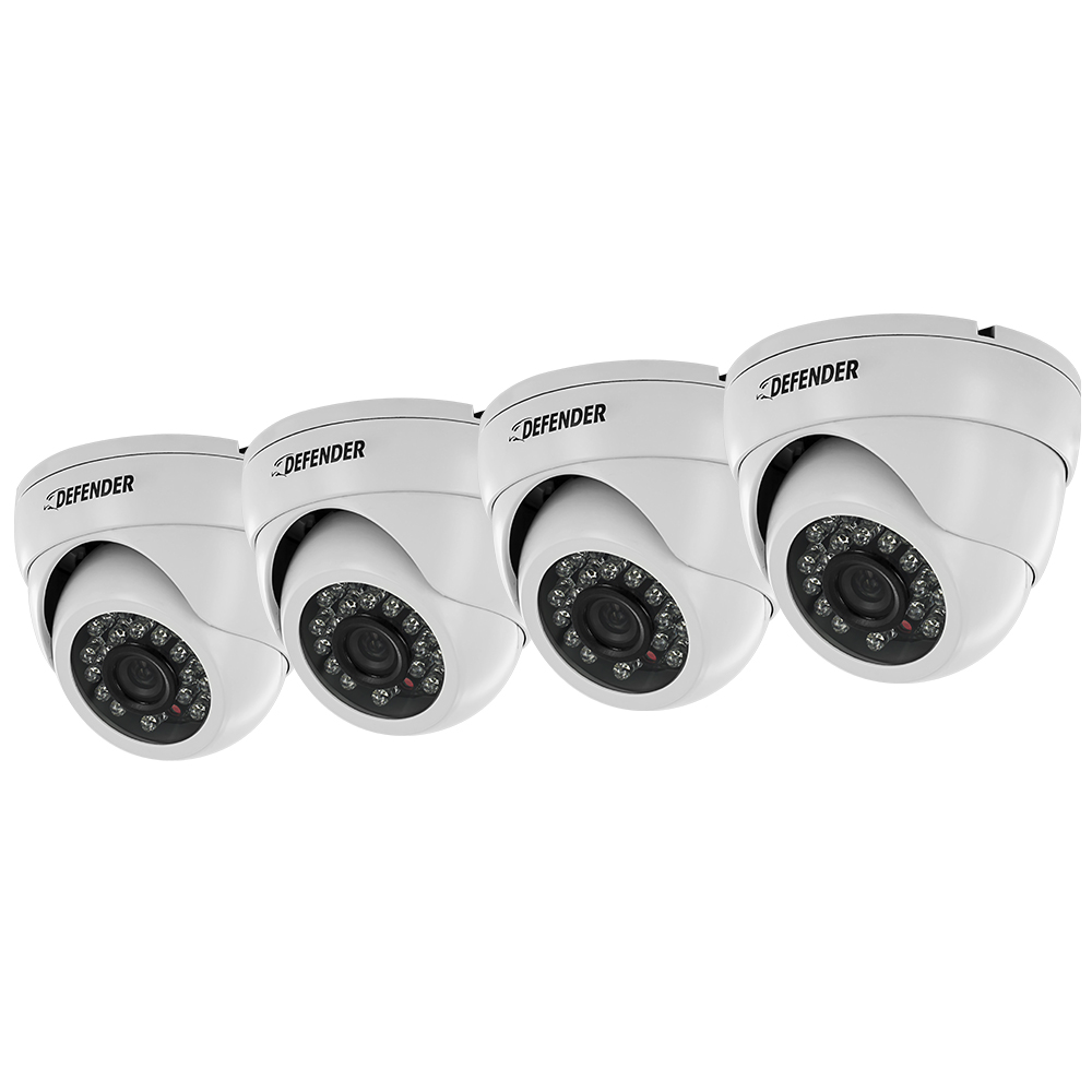 Ultra High Resolution Indoor/Outdoor Dome Security Cameras - 4 Pack