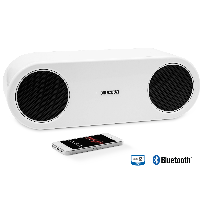 Fi30 High Performance Bluetooth Wood Speaker System  - Glacier White