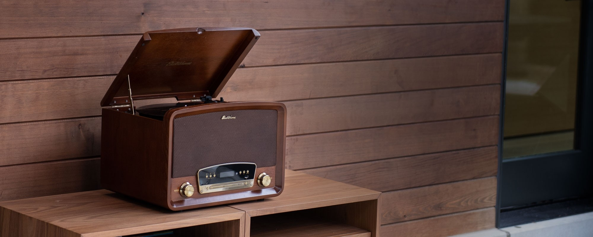 Concerto 7-in-1 Vinyl Record Player - Main Lifestyle Walnut