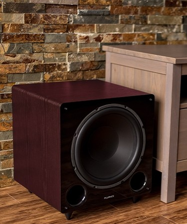 DB12 Mahogany 12-inch Low Frequency Ported Front Firing Powered Subwoofer - Beside TV 2