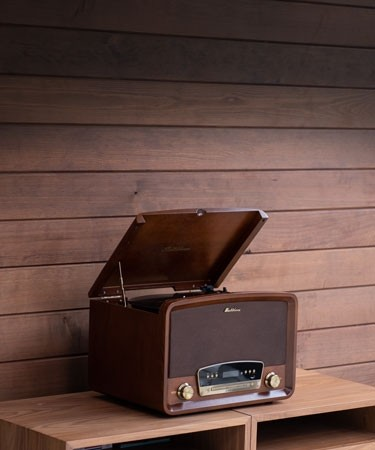 Concerto 7-in-1 Vinyl Record Player - Main Mobile Lifestyle Walnut