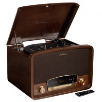 Kingston 7-in-1 Vinyl Record Player - Main Walnut