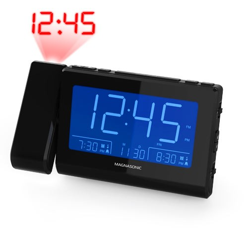 Alarm Clock Radio with Time Projection - Black