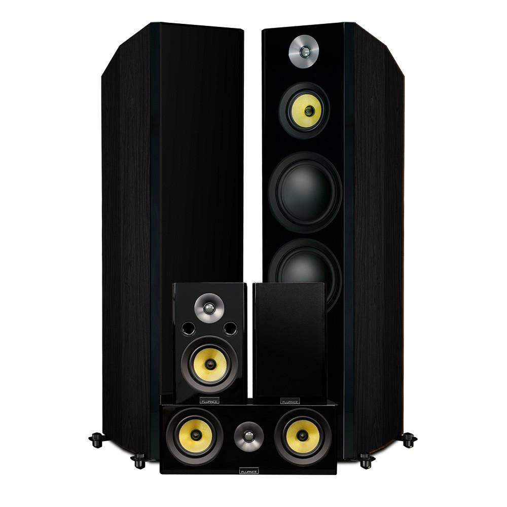 Fluance HFHTB Black Ash Home Theater Speaker System
