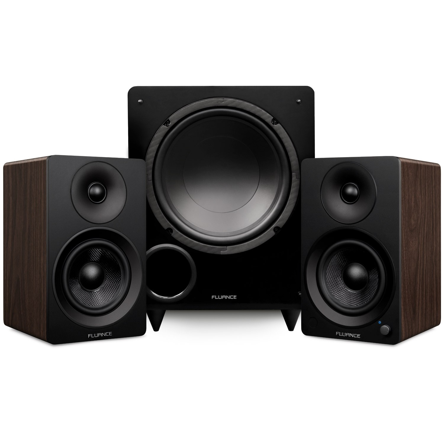 """Ai41 Powered 5"""" Stereo Bookshelf Speakers and DB10 10-Inch Low Frequency Ported Front Firing Powered Subwoofer - Main"""