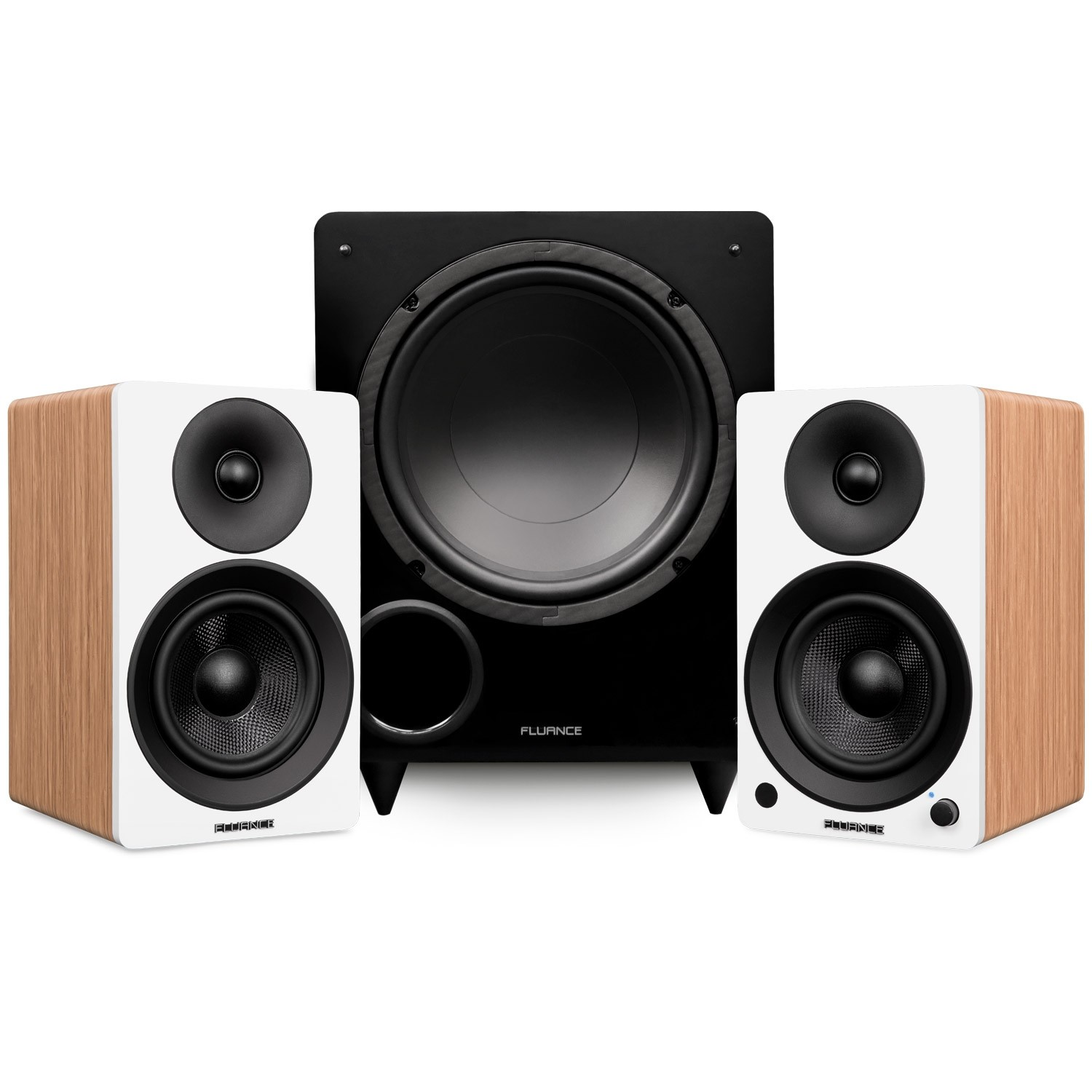 """Ai41 Powered 5"""" Stereo Bookshelf Speakers and DB10 10-Inch Low Frequency Ported Front Firing Powered Subwoofer"""