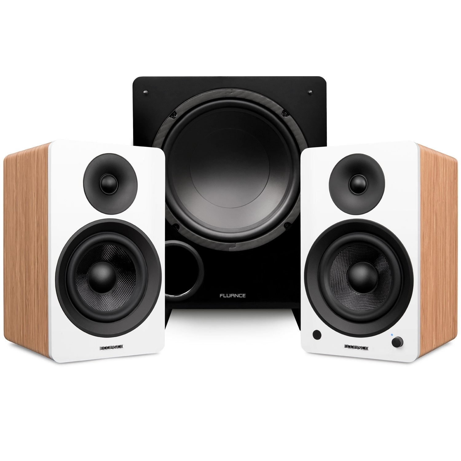 """Ai61 Powered 6.5"""" Stereo Bookshelf Speakers and DB10 10-Inch Low Frequency Ported Front Firing Powered Subwoofer"""