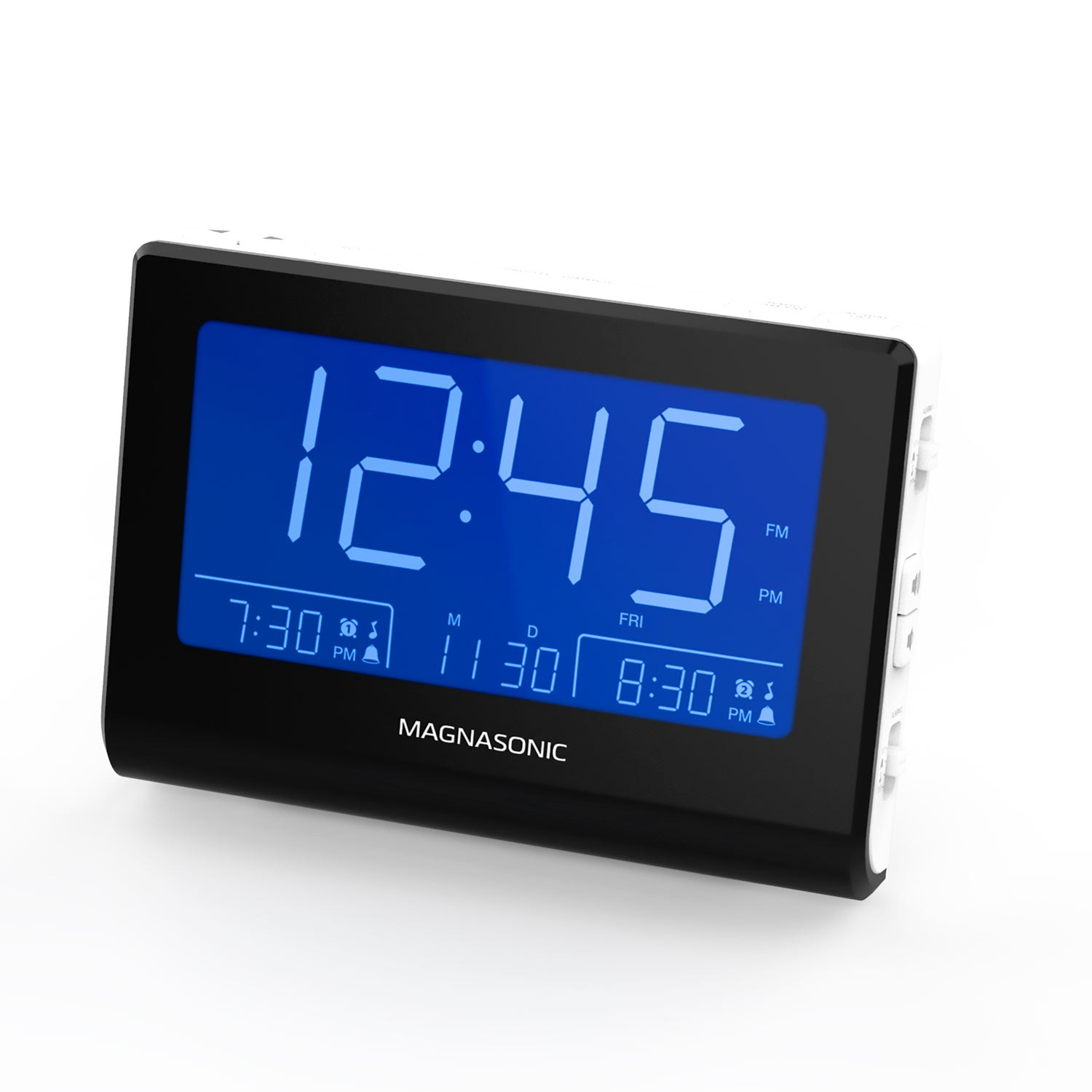 Alarm Clock Radio with Battery Backup - White