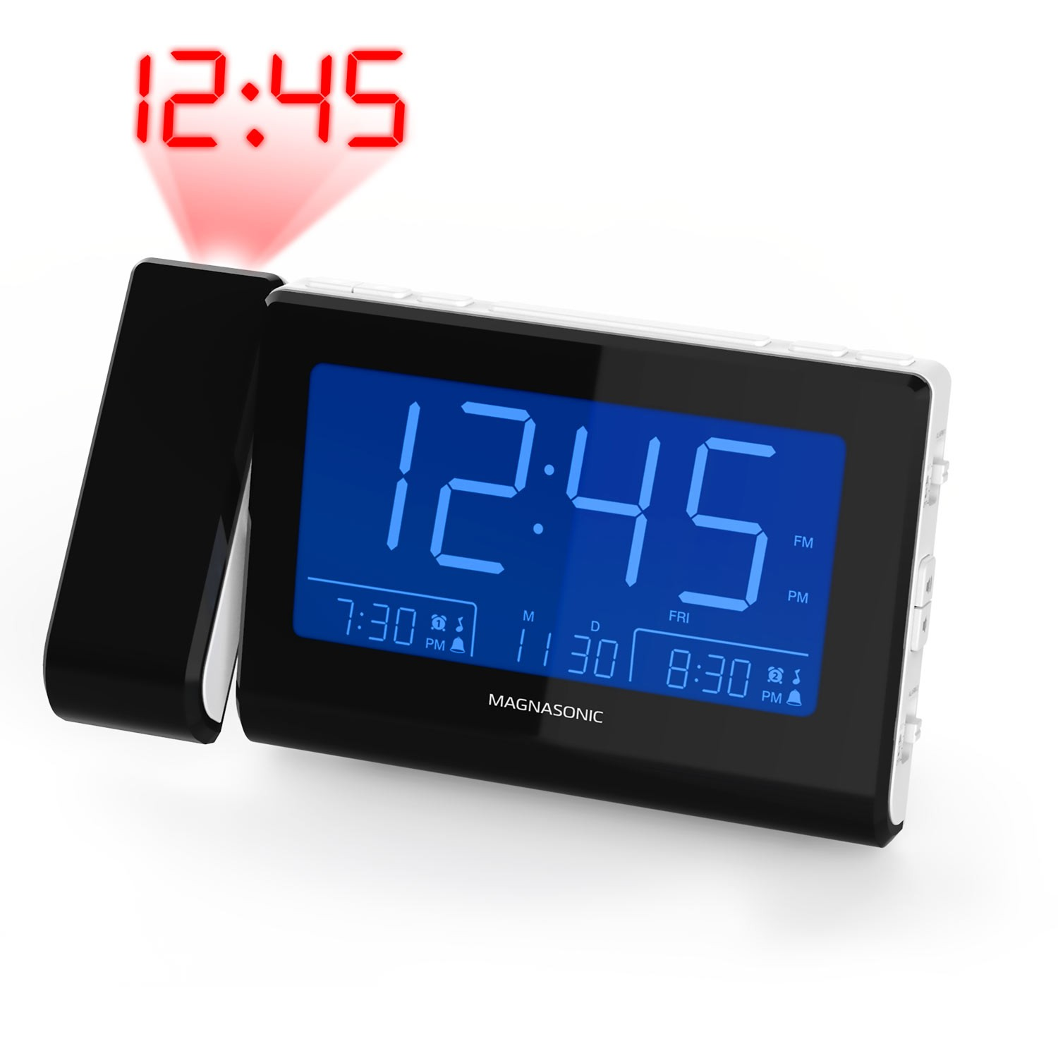 Alarm Clock Radio with Time Projection - White