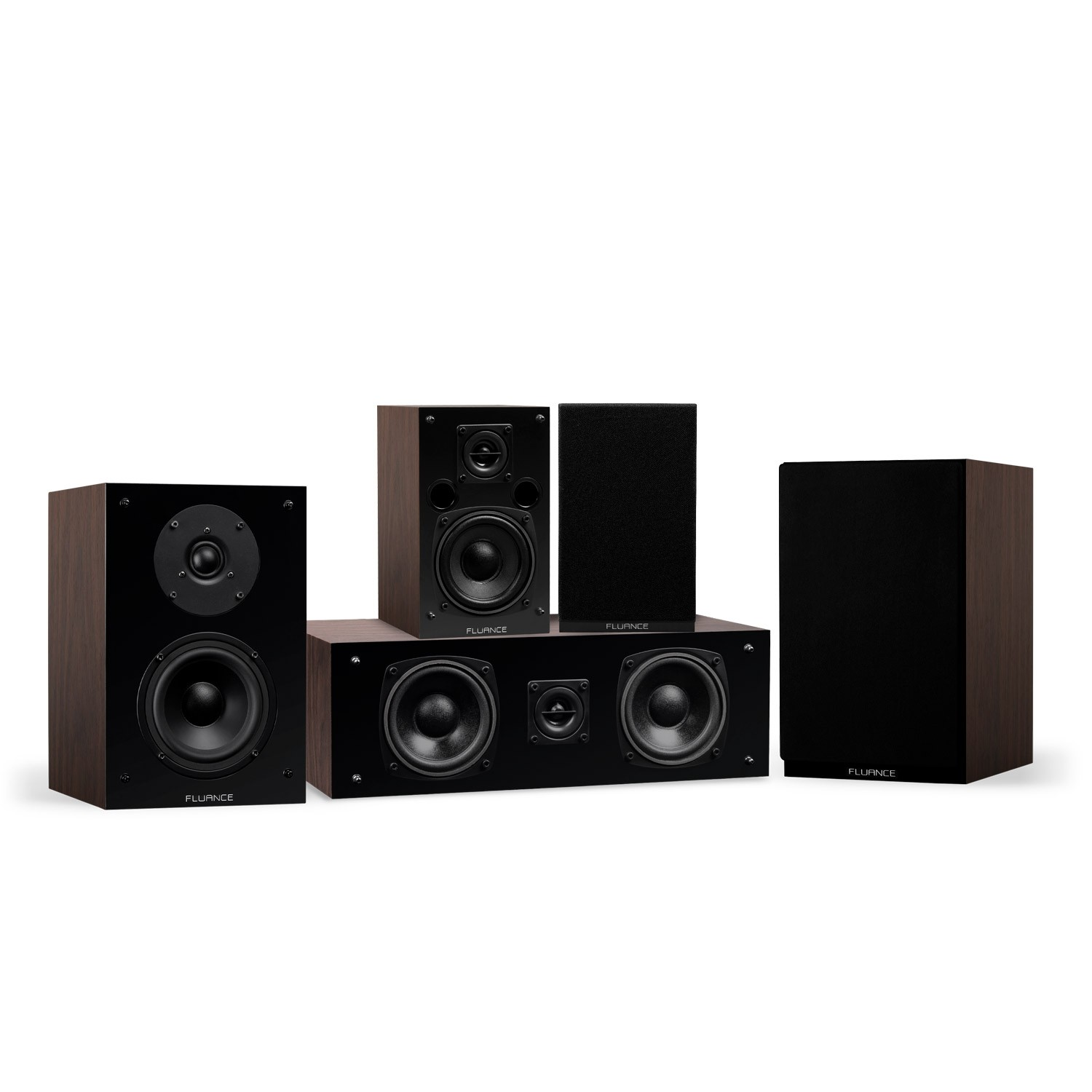 Elite Series Walnut Compact Surround Sound Home Theater 5.0 Channel Speaker System