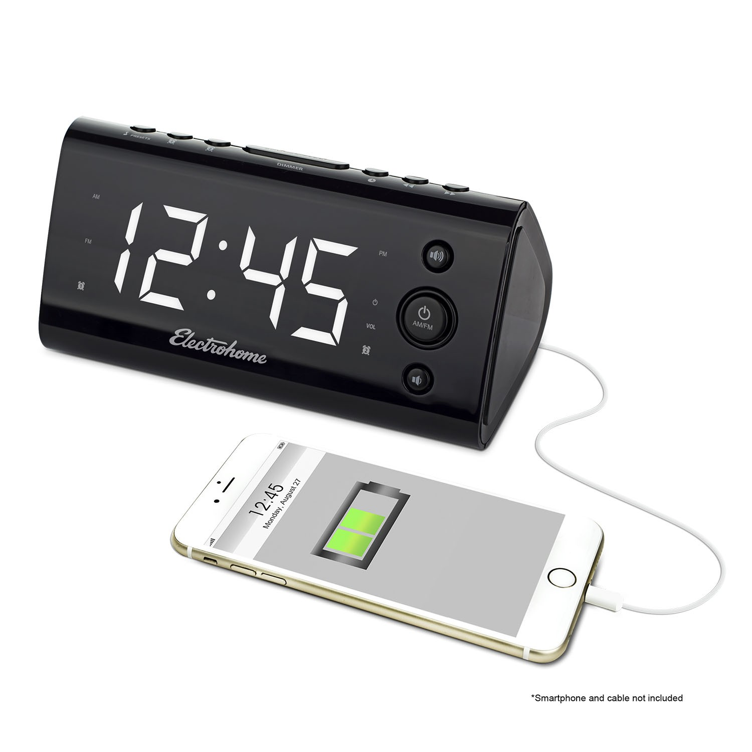 Electrohome USB Charging Alarm Clock Radio front right EAAC470W