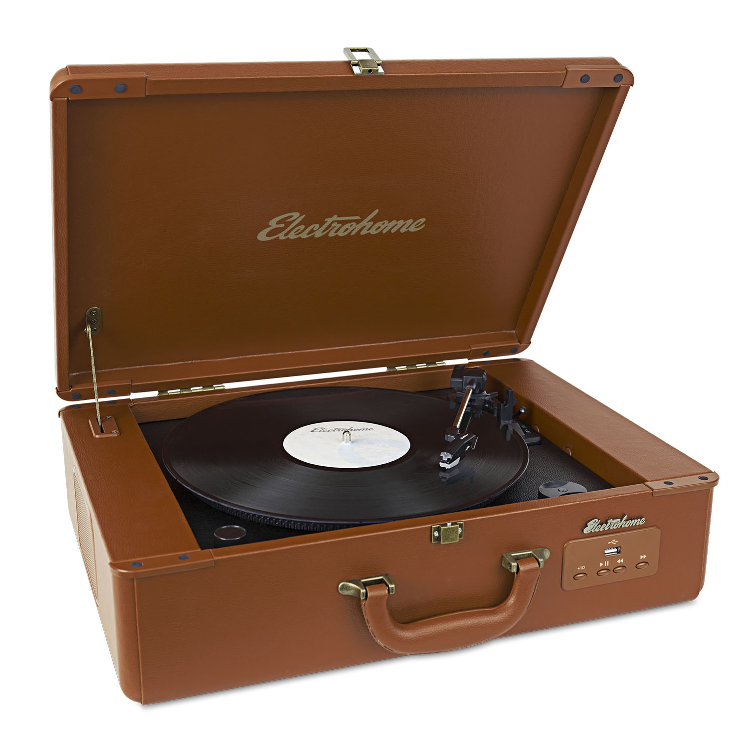 front Electrohome Archer Vinyl Record Player Classic Turntable eanos300S