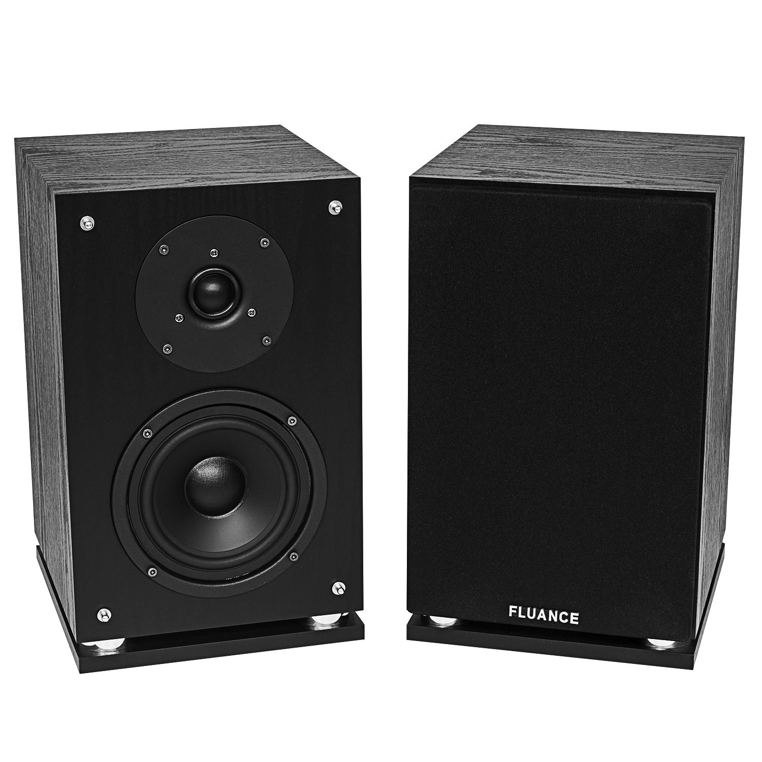 Fluance SX6-BK High Definition Two-Way Bookshelf Loudspeakers - Black Ash