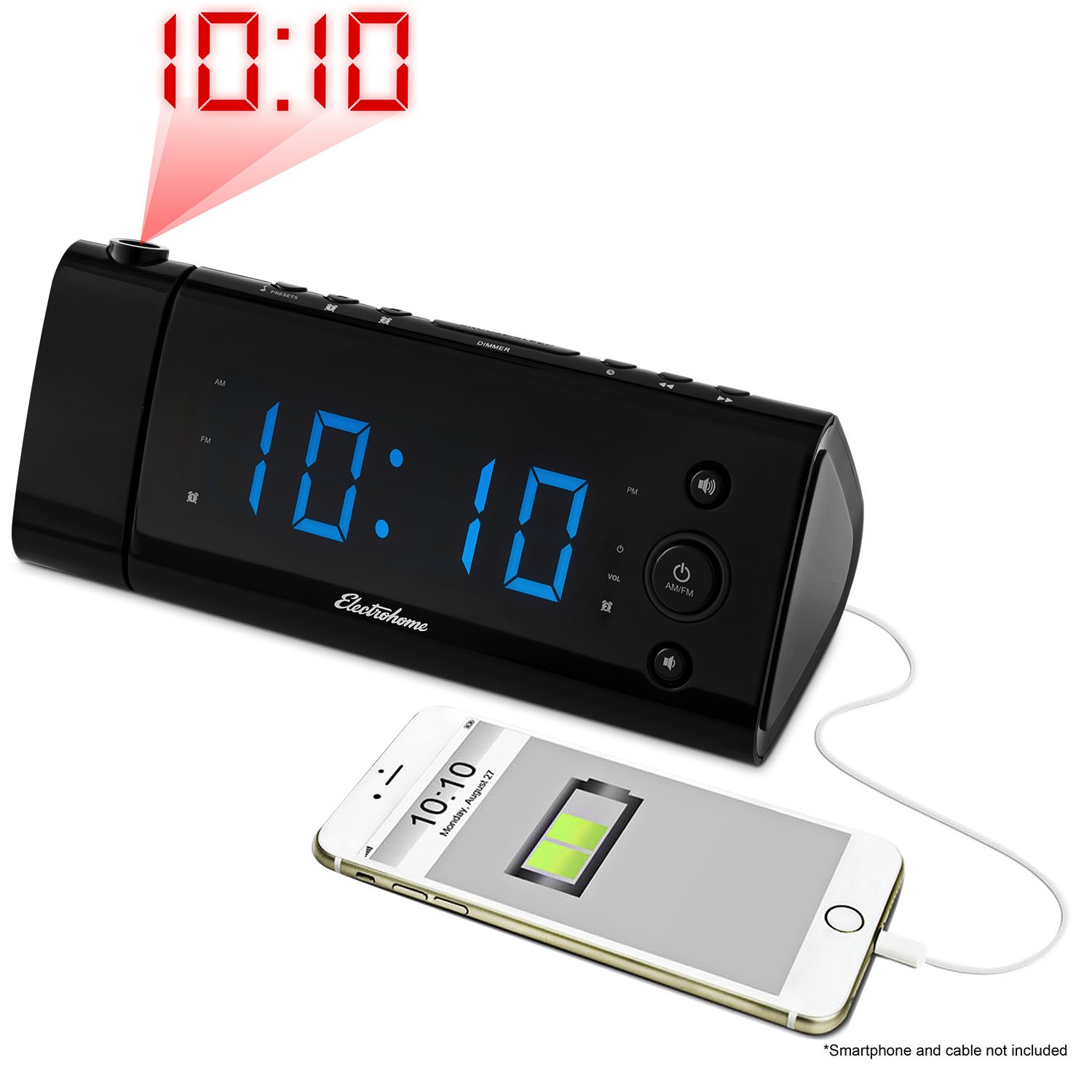 EAA475 Electrohome USB Charging Projection Alarm Clock Radio