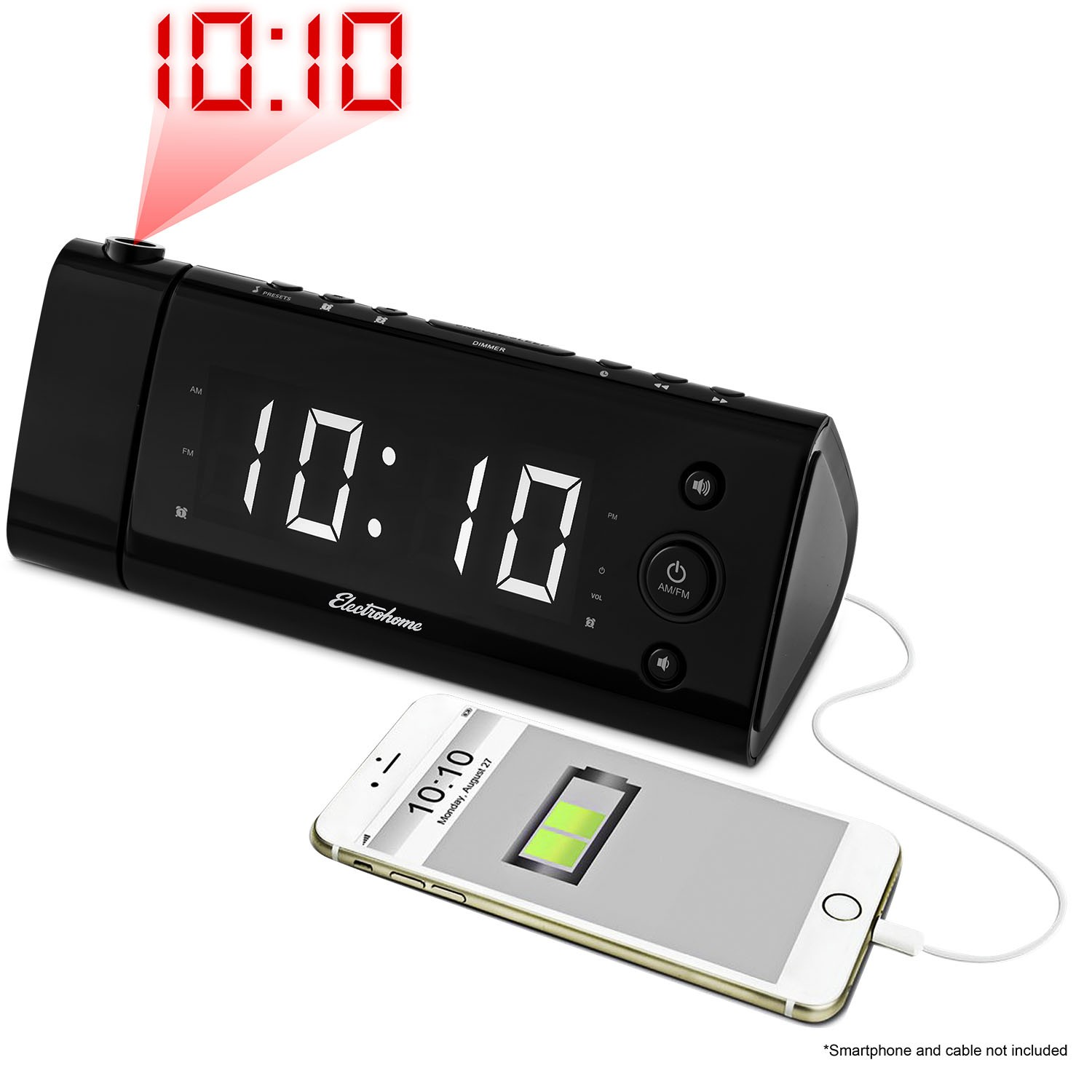 Electrohome USB Charging Projection Alarm Clock Radio EAA475W