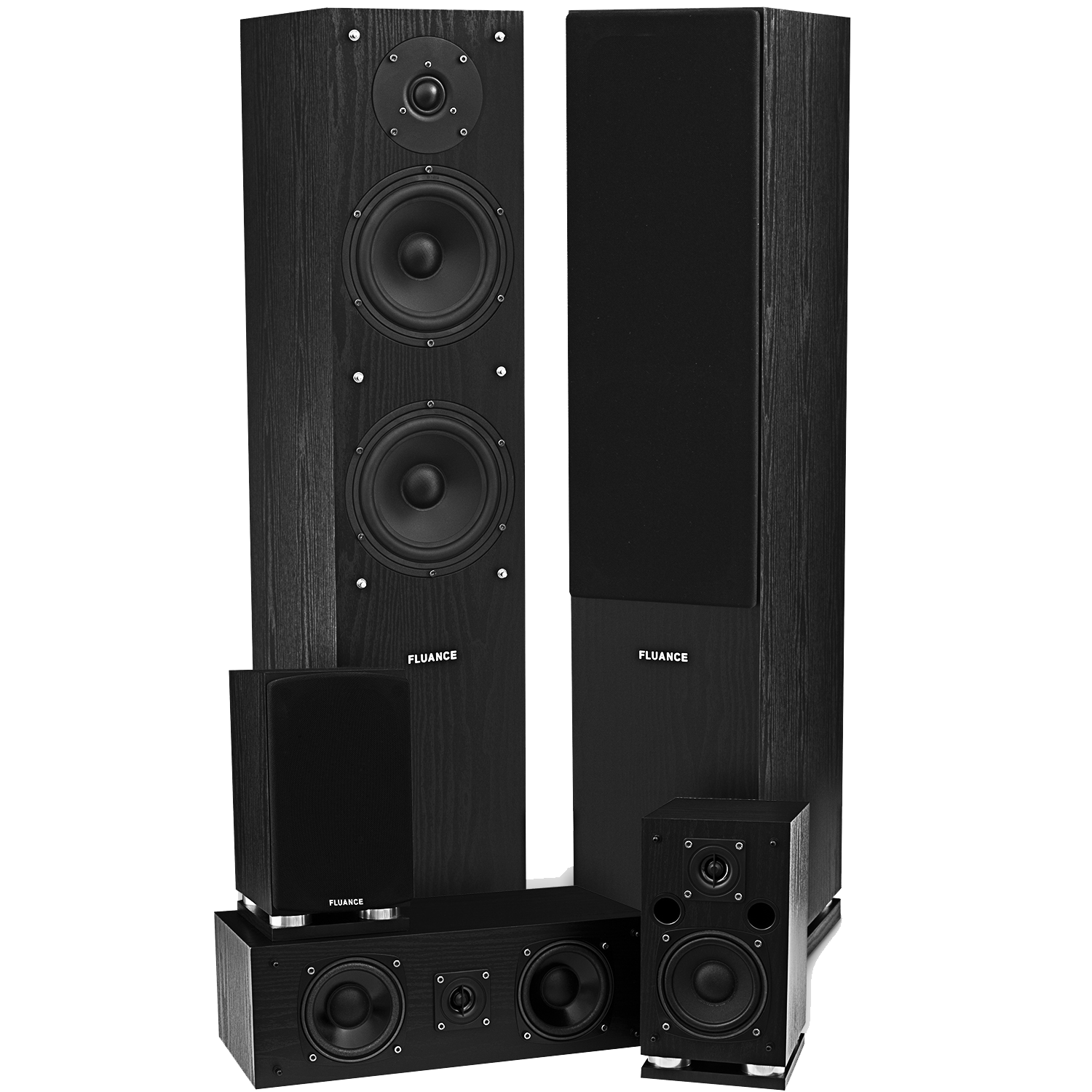 Fluance SXHTB-BK Black Ash Surround Sound Speaker System Main