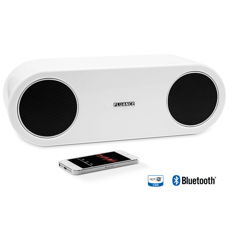 Fi30 High Performance Bluetooth Wood Speaker System-Glacier White