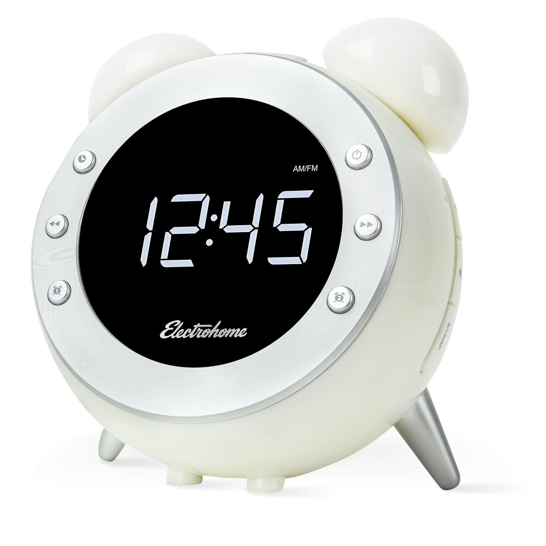 Electrohome White Retro Alarm Clock Radio CR35W