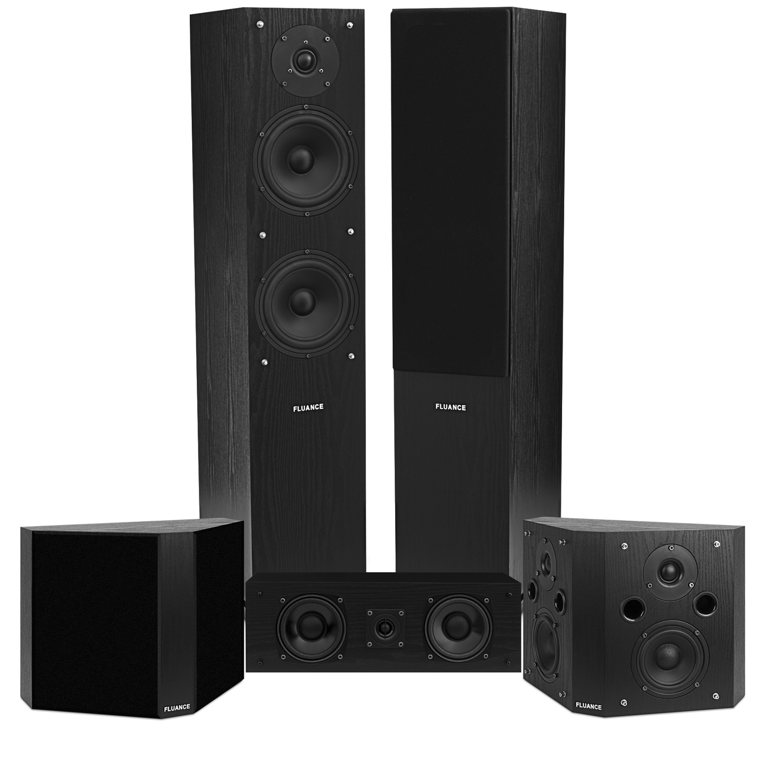Fluance SXHTBBP-BK-KIT Classic Elite Home Theater System With Bipolar Speakers - Black