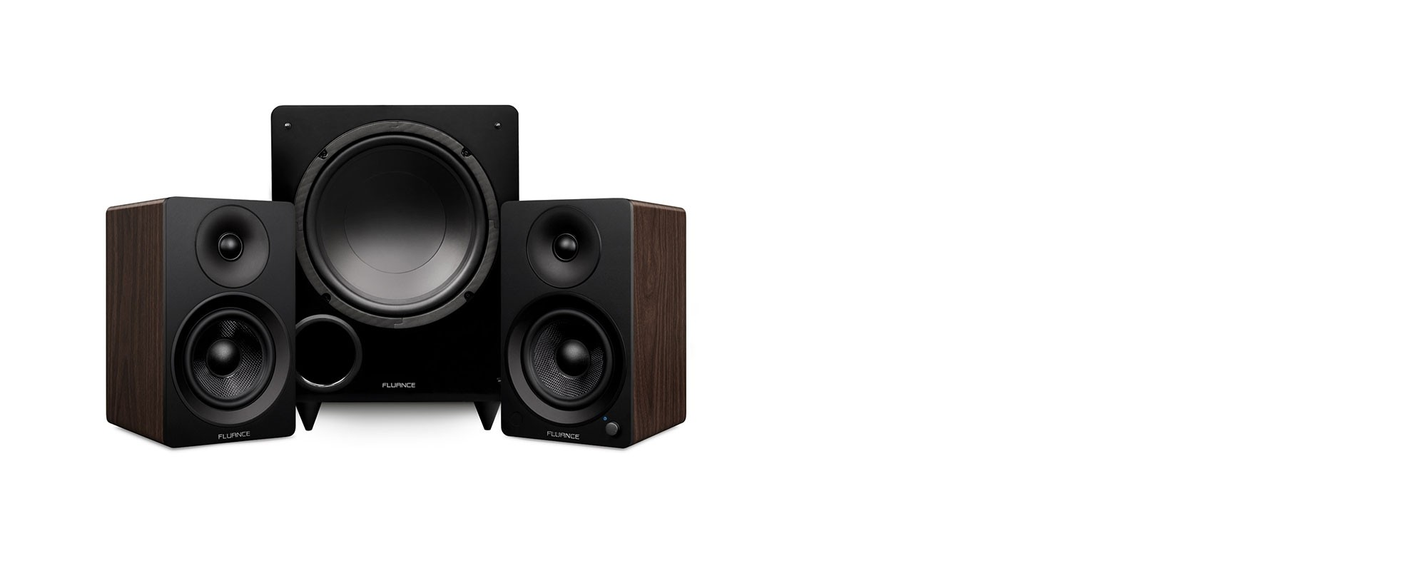 """Ai41 Powered 5"""" Stereo Bookshelf Speakers and DB10 10-Inch Low Frequency Ported Front Firing Powered Subwoofer - Main Desktop"""