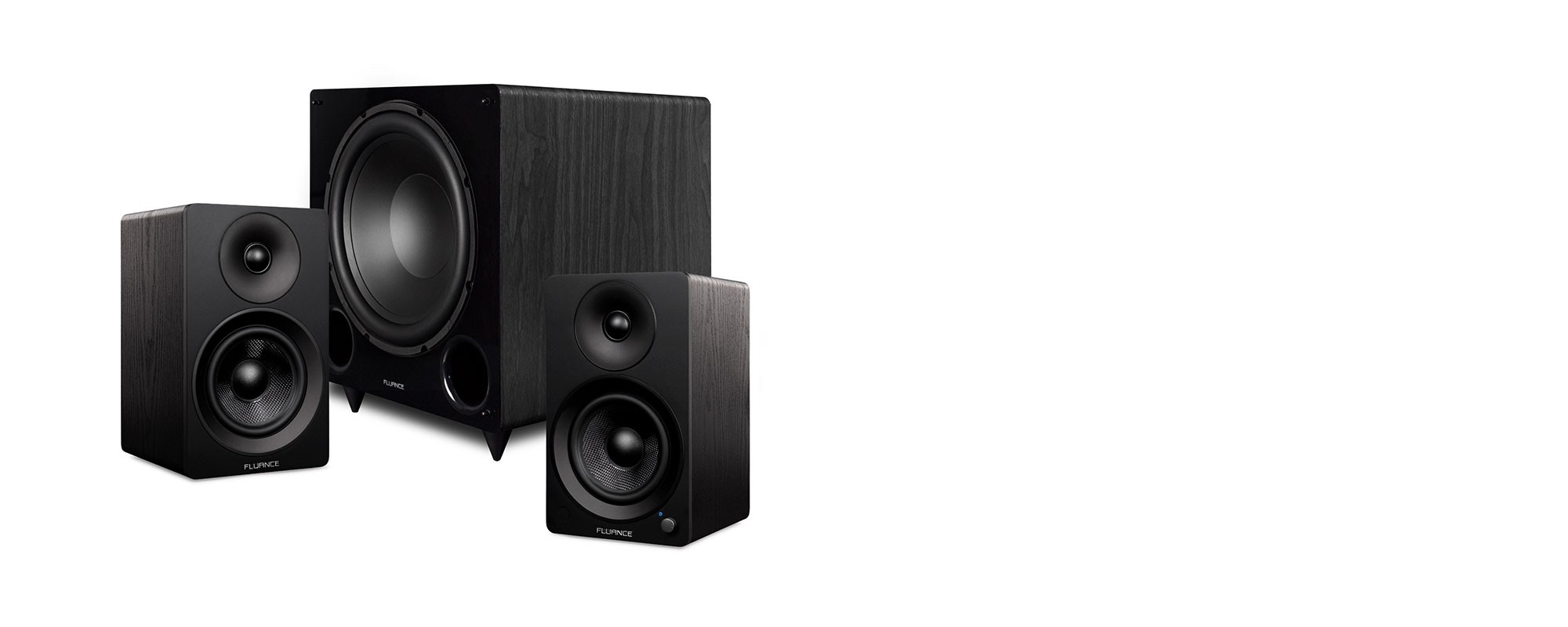 """Ai41 Powered 5"""" Stereo Bookshelf Speakers and DB12 12-inch Low Frequency Ported Front Firing Powered Subwoofer - Main Mobile"""