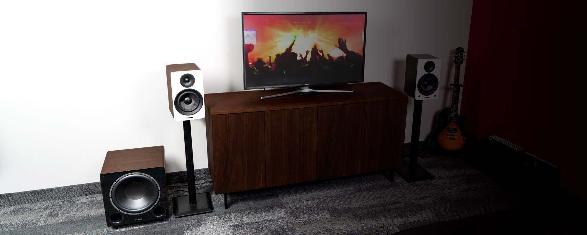 """Ai61 Powered 6.5"""" Stereo Bookshelf Speakers and DB12 12-inch Low Frequency Ported Front Firing Powered Subwoofer - Lifestyle"""