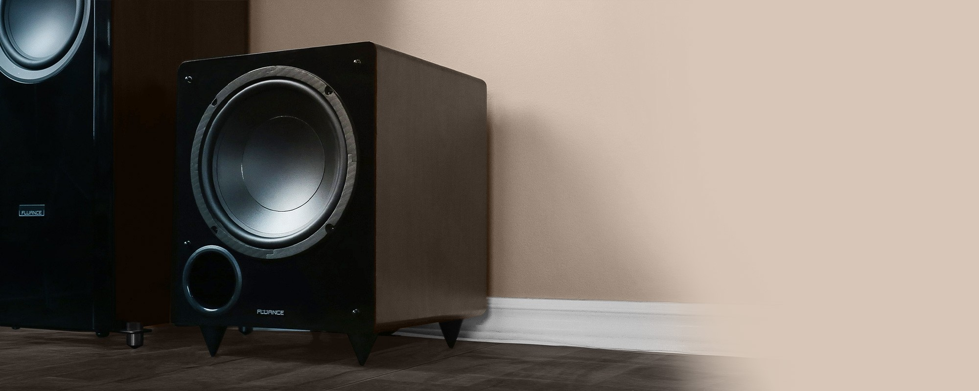 DB10 Walnut 10-inch Low Frequency Powered Subwoofer - Lifestyle 2