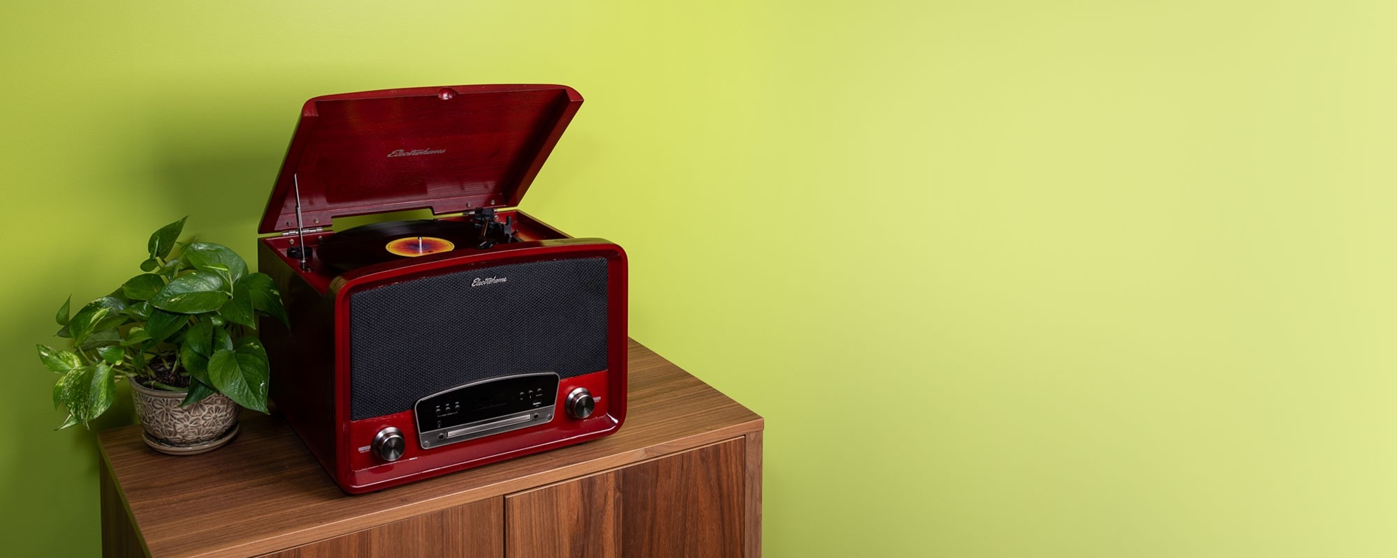 Concerto 7-in-1 Vinyl Record Player - Lifestyle Cherry