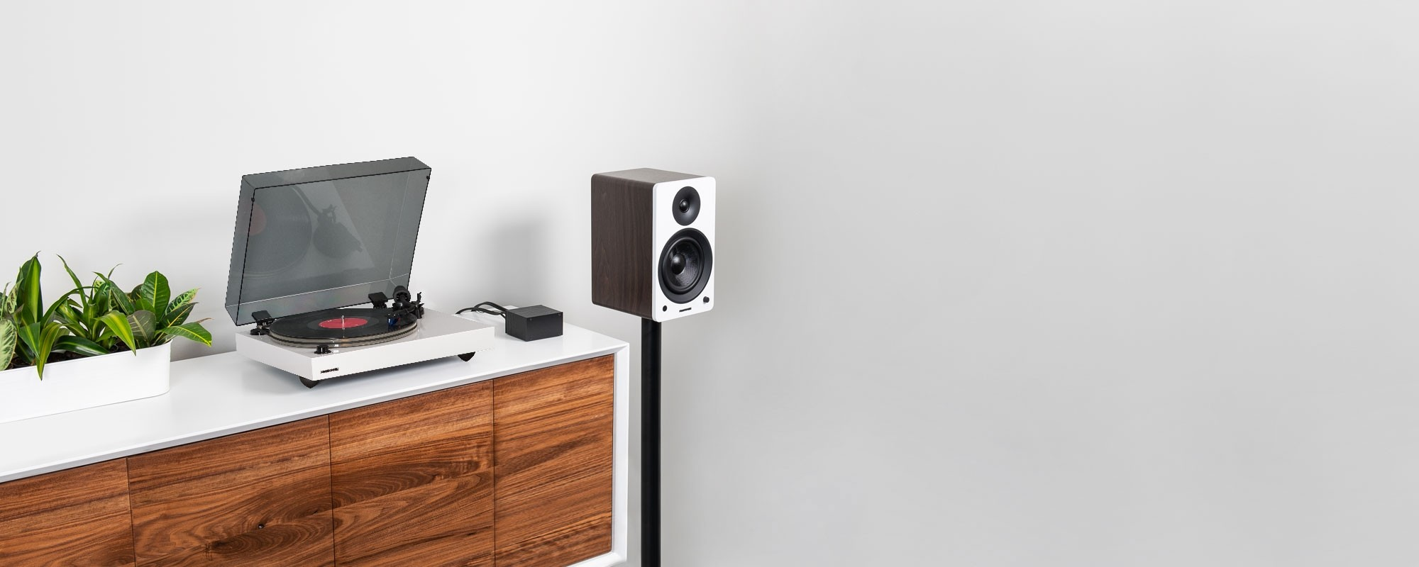 """Reference RT85 High Fidelity Vinyl Turntable with PA10 Phono Preamp and Ai61 Powered 6.5"""" Stereo Bookshelf Speakers - Lifestyle"""