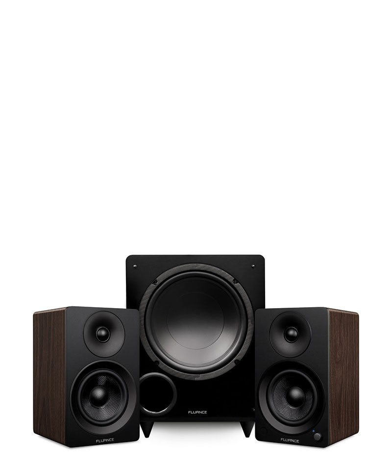 """Ai41 Powered 5"""" Stereo Bookshelf Speakers and DB10 10-Inch Low Frequency Ported Front Firing Powered Subwoofer - Main Mobile"""