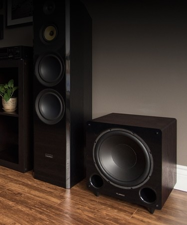DB12 12-inch Walnut Low Frequency Ported Front Firing Powered Subwoofer - Lifestyle