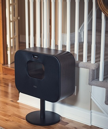 Fi70 Three-Way Wireless High Fidelity Music System - in front of stairs