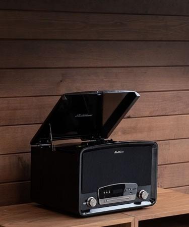 Kingston 7-in-1 Vinyl Record Player - Main black mobile lifestyle