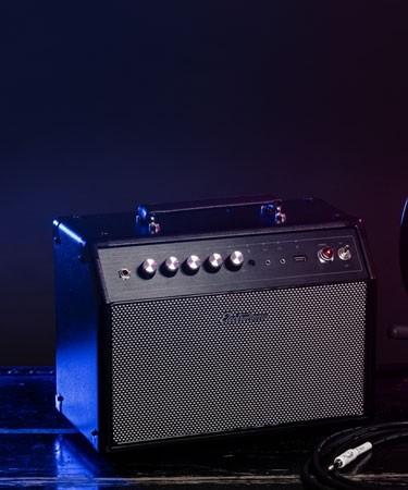 Birmingham High Performance Retro Music System with blue lighting