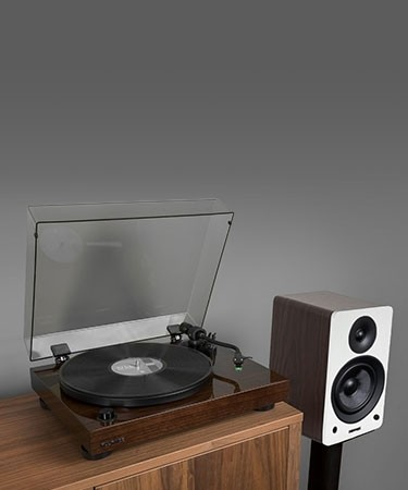 "RT81 Elite High Fidelity Vinyl Turntable with Ai61 Powered 6.5"" Stereo Bookshelf Speakers - Lifestyle Mobile"