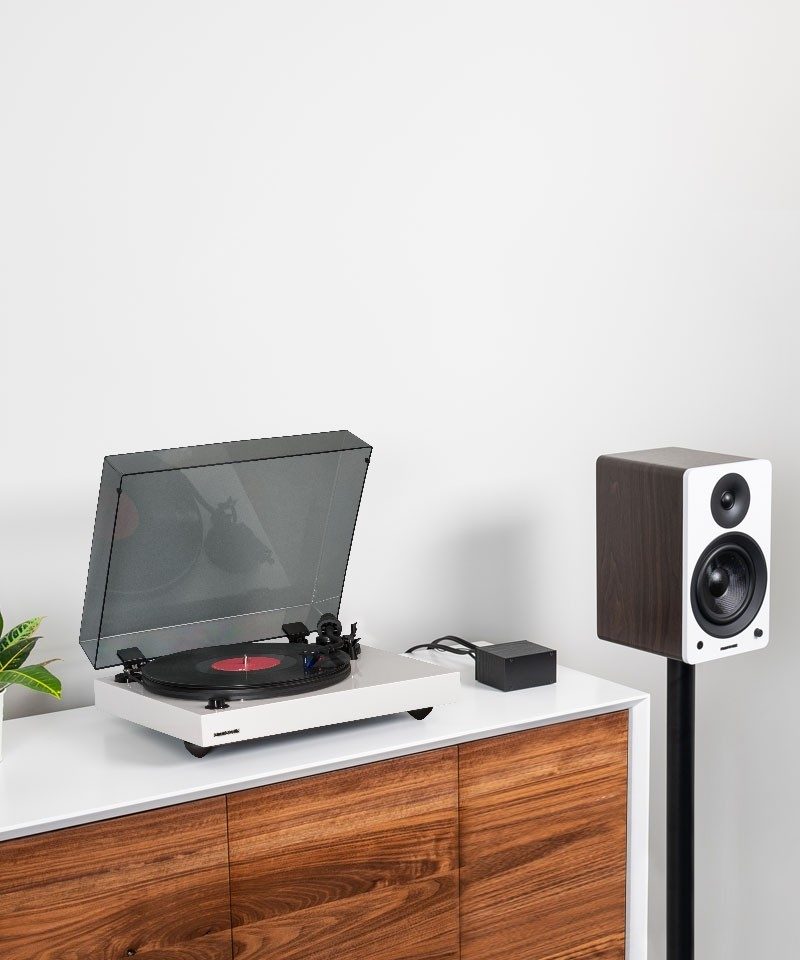 """Reference RT84 High Fidelity Vinyl Turntable with PA10 Phono Preamp and Ai61 Powered 6.5"""" Stereo Bookshelf Speakers - Lifestyle Mobile"""