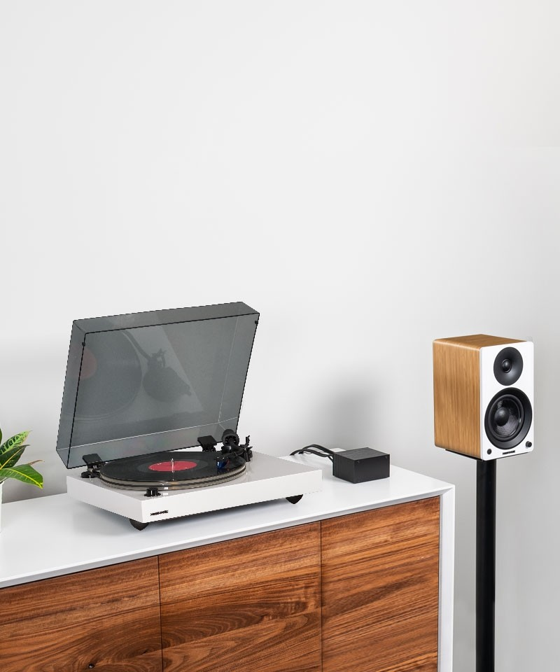 """Reference RT85 High Fidelity Vinyl Turntable with PA10 Phono Preamp and Ai41 Powered 5"""" Bookshelf Speakers - Lifestyle Mobile"""