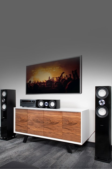 XL8F Floorstanding Speakers with XL8C Center Channel Speaker - Home Theater Setup