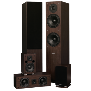 Elite Series Natural Walnut Surround Sound Home Theater 5.0 Channel Speaker System