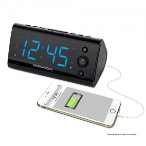 Electrohome USB Charging Alarm Clock Radio top view EAAC470