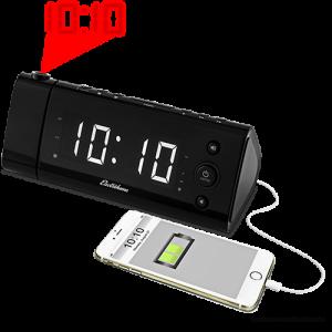 Electrohome USB Charging Projection Alarm Clock Radio EAA475W