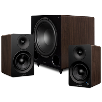 """Ai41 Powered 5"""" Stereo Bookshelf Speakers and DB12 12"""" Low Frequency Ported Front Firing Powered Subwoofer"""