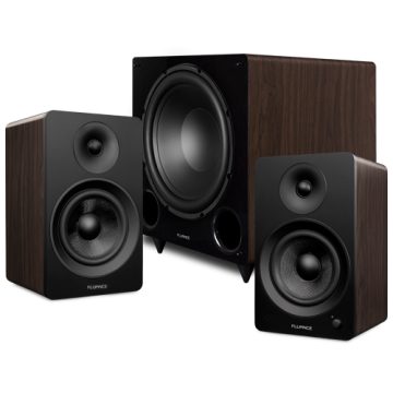"""Ai61 Powered 6.5"""" Stereo Bookshelf Speakers and DB12 12"""" Low Frequency Ported Front Firing Powered Subwoofer"""