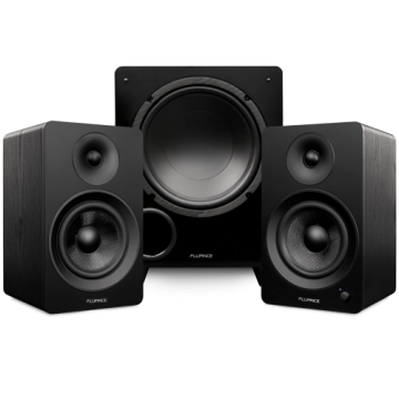 """Ai61 Powered 6.5"""" Stereo Bookshelf Speakers and DB10 10"""" Low Frequency Ported Front Firing Powered Subwoofer"""
