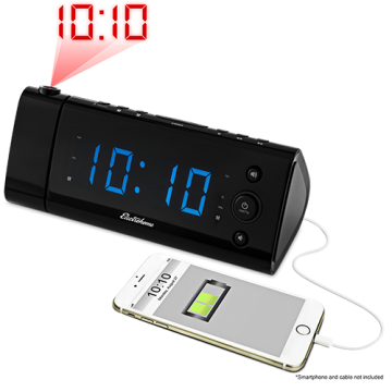 USB Charging Projection Alarm Clock Radio