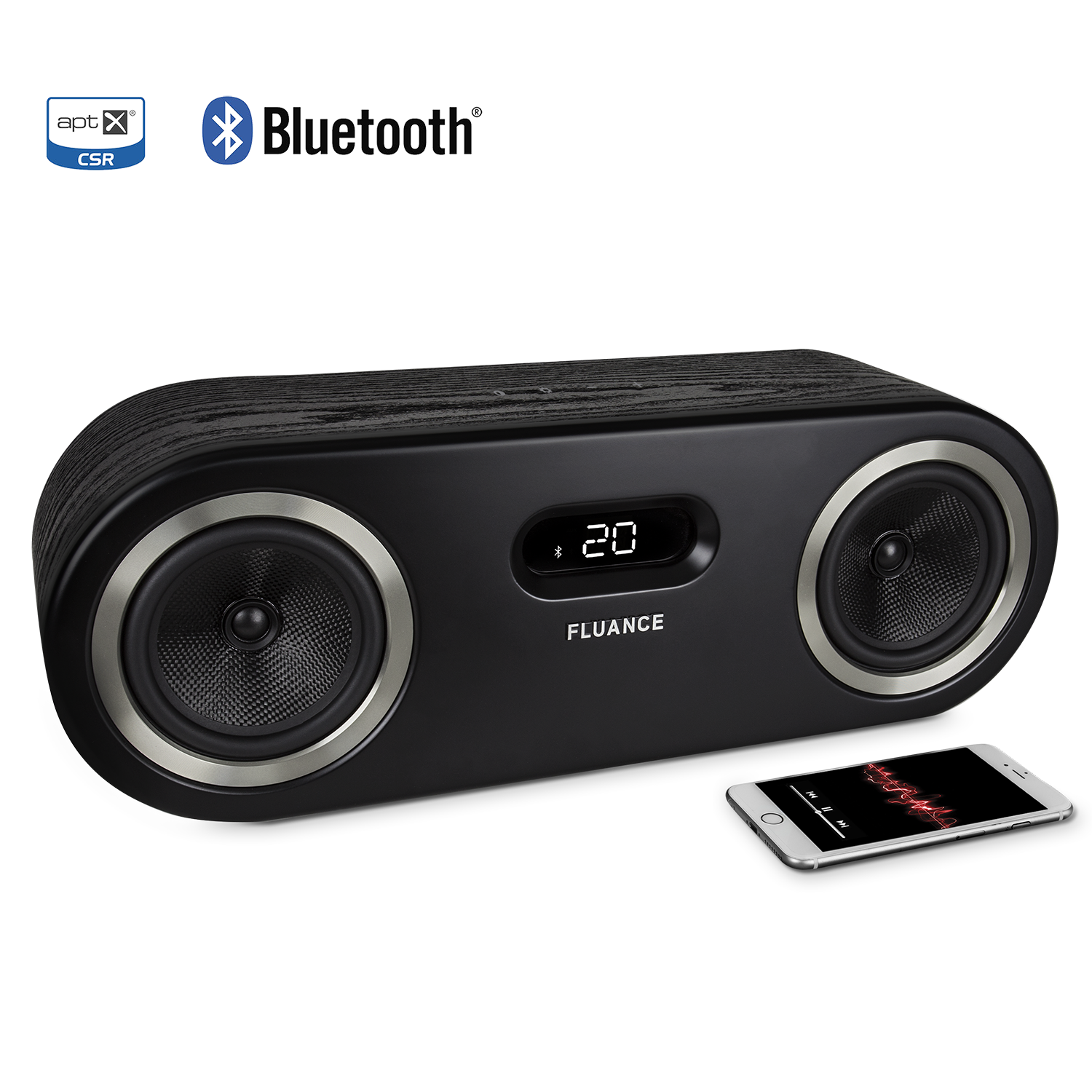 Fi50 Two-Way High Performance Wireless Bluetooth Wood Speaker System - Black Ash