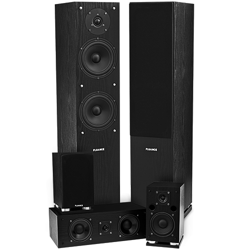 Fluance SXHTB-BK Black Ash Surround Sound Speaker System Alternate