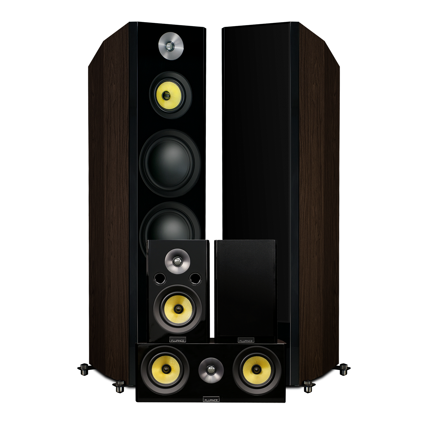 Fluance Signature HFHTB Dark Walnut Home Theater Speaker System
