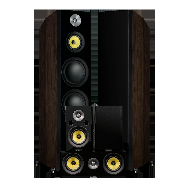 Fluance Signature HFHTB Dark Walnut Home Theater Speaker System